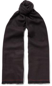 Ermenegildo Zegna Fringed Micro-Check Woven Wool Scarf
