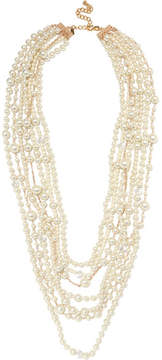 Kenneth Jay Lane Gold-plated, Crystal And Faux Pearl Necklace - White