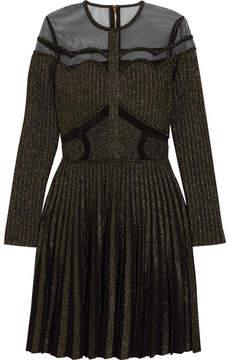 Elie Saab Metallic Stretch-knit And Tulle Mini Dress - Black