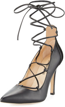 Neiman Marcus Tallen Leather Ballerina Pump, Black