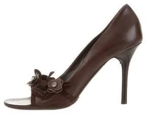 Valentino Leather Peep-Toe Pumps