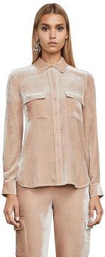 BCBGMAXAZRIA Anderson Long-Sleeve Velvet Shirt
