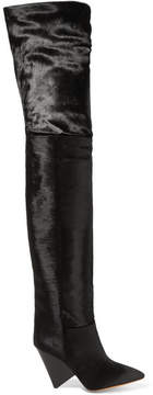Isabel Marant Lostynn Calf Hair Over-the-knee Boots - Black