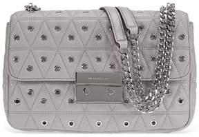 Michael Kors Sloan Large Studded Shoulder Bag- Pearl Grey - ONE COLOR - STYLE