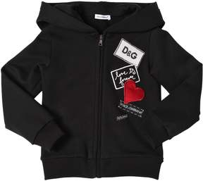 Dolce & Gabbana Hooded Cotton Sweatshirt W/ Patches