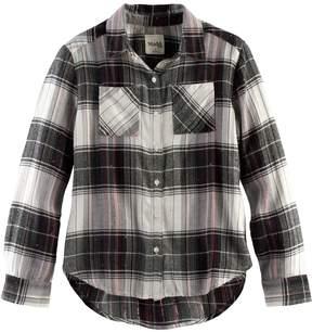 Mudd Girls 7-16 & Plus Size Metallic Plaid Button-Front Flannel Shirt