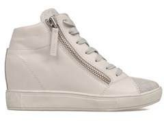 Crime London Women's White Leather Hi Top Sneakers.