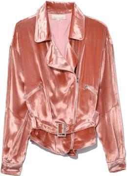 Fleur Du Mal Panne Velvet Rider Jacket in Flamingo