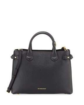 Burberry Leather & Check Canvas Tote Bag, Black - BLACK - STYLE