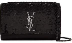 Saint Laurent Monogramme Kate Medium Sequined Satin Shoulder Bag - Black - BLACK - STYLE