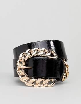 Asos Chain Buckle Patent Jeans Belt