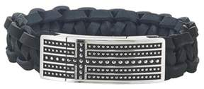 Armani Exchange Jewelry Mens Stainless Steel Antique Black Leather Bracelet.