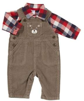 Carter's Infant Boy Brown Corduroy Bear Outfit with Overalls Red Plaid Shirt 3m