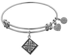 Celtic Smooth Finish Brass Square Knot Angelica Bangle Bracelet, 7.25.