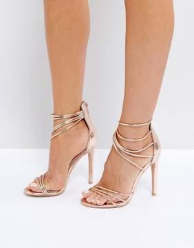 Public Desire Sense Rose Gold Strap Sandals