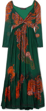 Etro Printed Cotton And Silk-blend Maxi Dress - Emerald