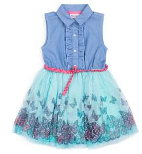 Little Lass Little Girl's Denim and Tulle Butterfly Dress