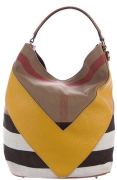 Burberry Chevron Check Hobo - BROWN - STYLE