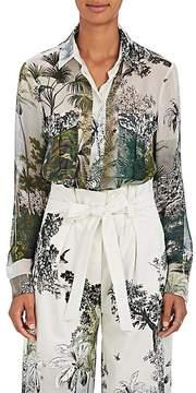 Alberta Ferretti Women's Jungle-Print Silk Chiffon Blouse