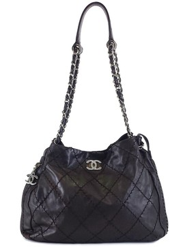 Chanel Brown Leather Stitched Expandable Zip Around Tote