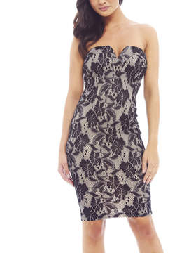 AX Paris Black Lace Notch Neck Bodycon Dress - Women
