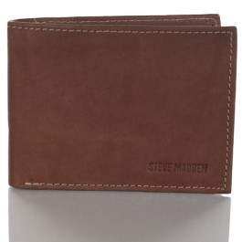 Steve Madden Mens Antique Leather RFID Blocking Passcase Wallet