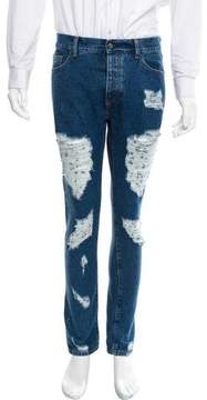 Palm Angels Distressed Five-Pocket Jeans