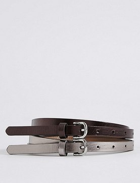 Marks and Spencer 2 Pack Faux Leather Hip Belts