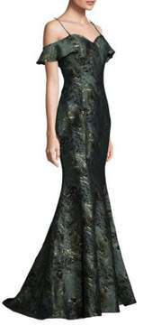 Alberto Makali Off-Shoulder Texture Mermaid Gown
