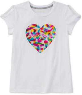 Calvin Klein Big Girls Heart-Print Logo T-Shirt