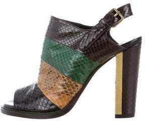 Dries Van Noten Snakeskin Slingback Sandals