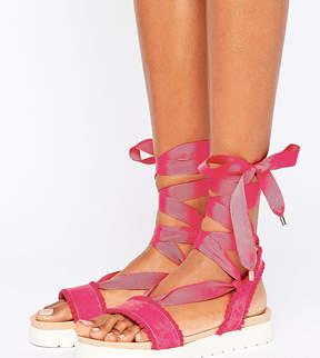 Miss KG Dakota Pink Pom Pom Tie Up Flat Sandals