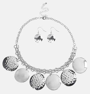 Avenue Hammered Disc Bib Necklace Earring Set