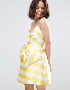 Asos SALON Candy Stripe Bow Front Mini Dress