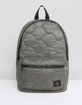 Asos Backpack In Khaki Quilted Design