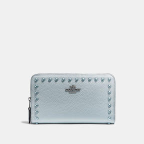 COACH Coach Medium Zip Around Wallet With Lacquer Rivets - DARK GUNMETAL/PALE BLUE - STYLE