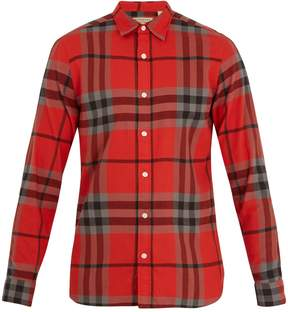 Burberry Point-collar checked cotton-flannel shirt