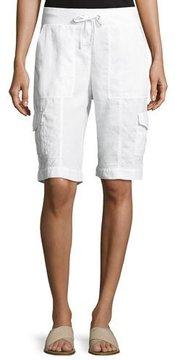 Eileen Fisher Drawstring Organic Linen Cargo Shorts, White