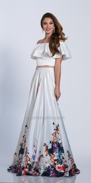 Dave and Johnny Off the Shoulder Multi Color A-line Prom Dress