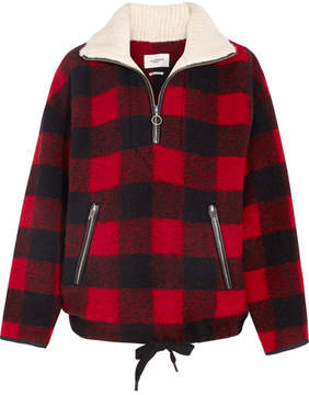 Etoile Isabel Marant Gilas Checked Brushed Wool-blend Jacket - Red