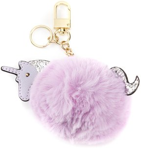 Kate Landry Unicorn Faux-Fur Pom Key Charm