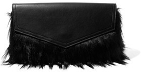 Iris and Ink Ziggy Faux Fur And Textured-Leather Clutch
