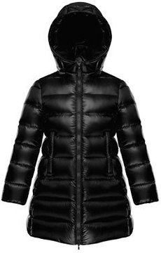 Moncler Suyen Hooded Long Puffer Coat, Black, Sizes 8-14