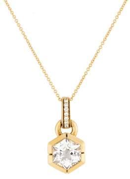 Frederic Sage 18k Yg White Topaz and Diamond Hexagon Picasso Pendant With Chain