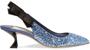 Miu Miu Glittered Leather And Satin Slingback Pumps - Blue
