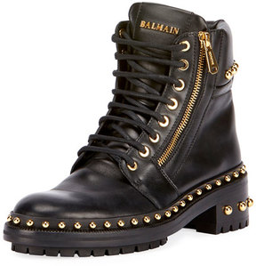Balmain Studded Leather Combat Boot