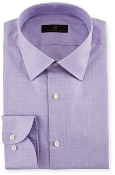 Ike Behar Gold Label Micro-Glen Plaid Dress Shirt, Lavender