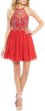 B. Darlin High-Neck Beaded Bodice Fit-And-Flare Dress