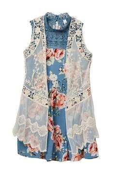 Beautees Floral Dress & Sheer Crochet Detail Vest (Big Girls)