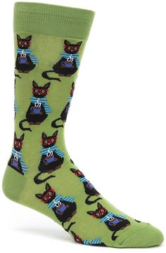 Hot Sox Coffee Cat Crew Socks